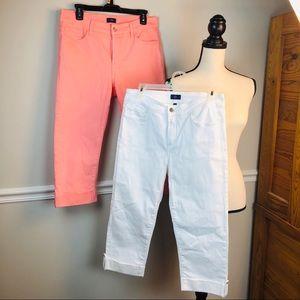 NYDJ bundle crop pants size 10 white coral